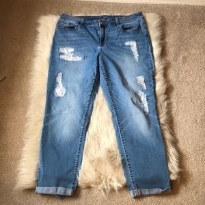 Chico's Lace Distressed Ankle Jeans
